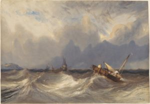 Eugene Isabey (French, 1803 - 1886 ), Fishing Boats Tossed before a Storm, c. 1840, watercolor and gouache (Ψαρόβαρκες, κλυδωνίζονται πριν την καταιγίδα). NGA.org