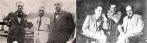 Βάρναλης (αριστερά), Νίκος Καστρινός, αρθρογράφος του «Ριζοσπάστη» και Δημήτρης Γληνός (δεξιά). Πηγή: www.lifo.gr