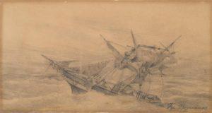 Βολανάκης Κωνσταντίνος (1837 – 1907) Ιστιοφόρο σε τρικυμία-Μολύβι σε χαρτόνι , 17 x 30 εκ.-Συλλογή Ιδρύματος Ε. Κουτλίδη